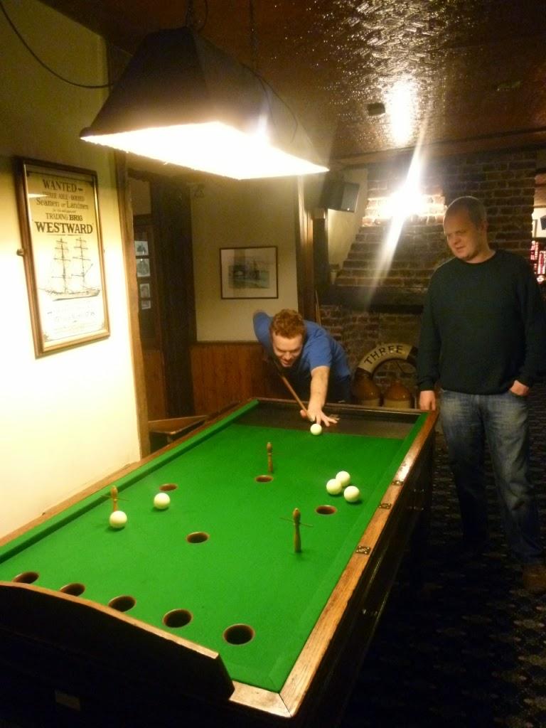 Bar Billiards at the Three Daws pub in Gravesend, Kent