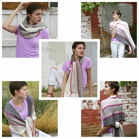 Treasures in the Sand Wrap (crochet pattern by Susan Carlson of Felted Button)