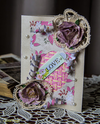 gunadesign guna andersone Pink roses shabby chic Love greeting card