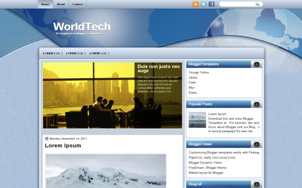 Free World Technology Blue Blogger Layout Template
