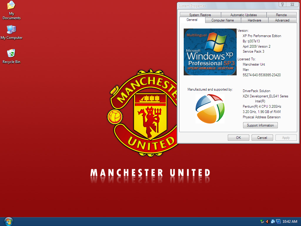 Windows XP Pro SP3 Manchester United Edition