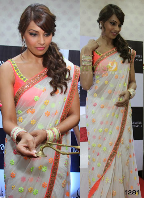 Bollywood Actress Bipasha Bashu white Saree Collection