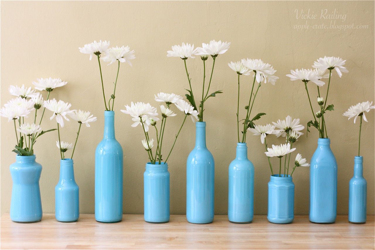 The apple crate painted bottle vases for How to paint glass bottles