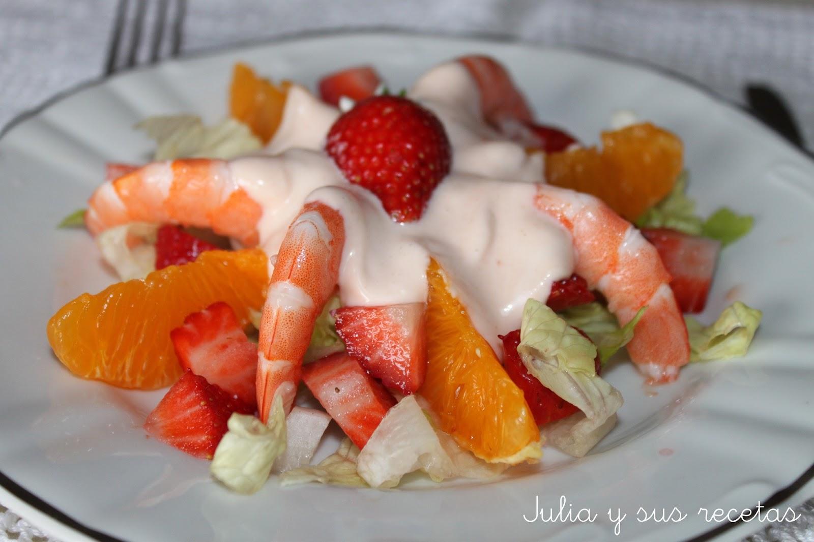 Julia y sus recetas ensalada de fresas y langostinos - Ensalada de langostinos ...