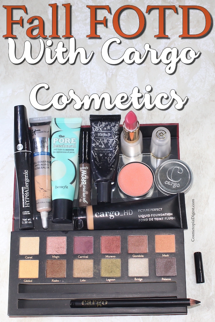Here is a Fall Makeup Look featuring Cargo Cosmetics Venice Enchantment Eyeshadow Palette and HD Picture Perfect Liquid Foundation.