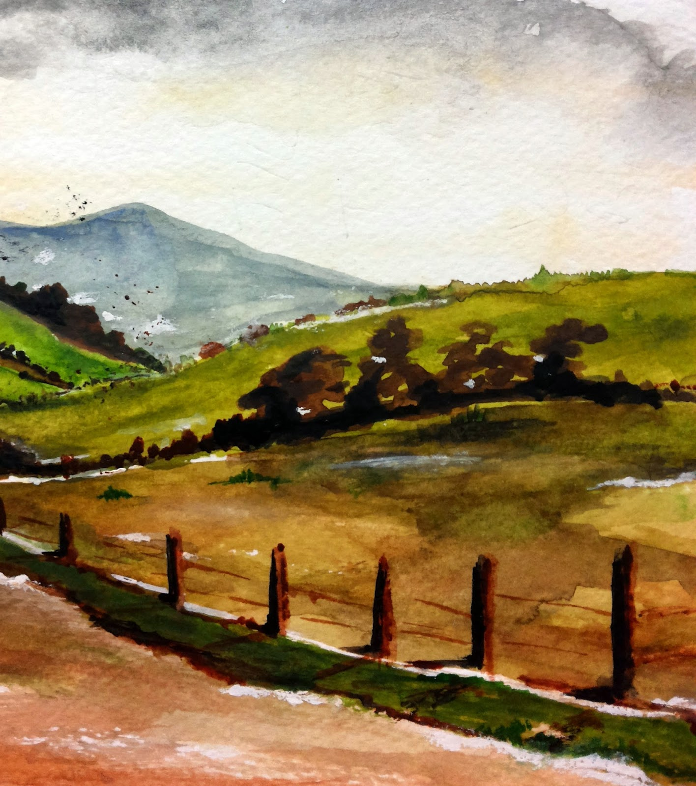 fence watercolor landscape hills