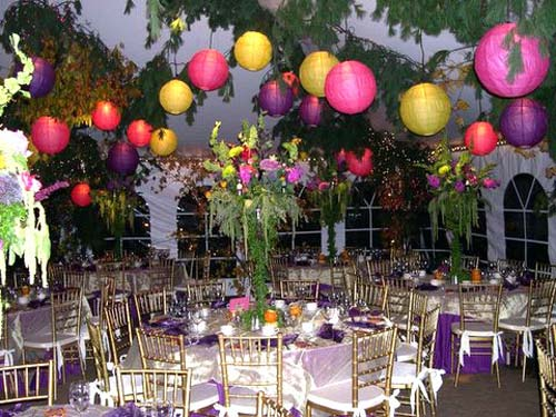 yellow wedding, purple wedding, pink wedding, hanging tree limbs for wedding decor