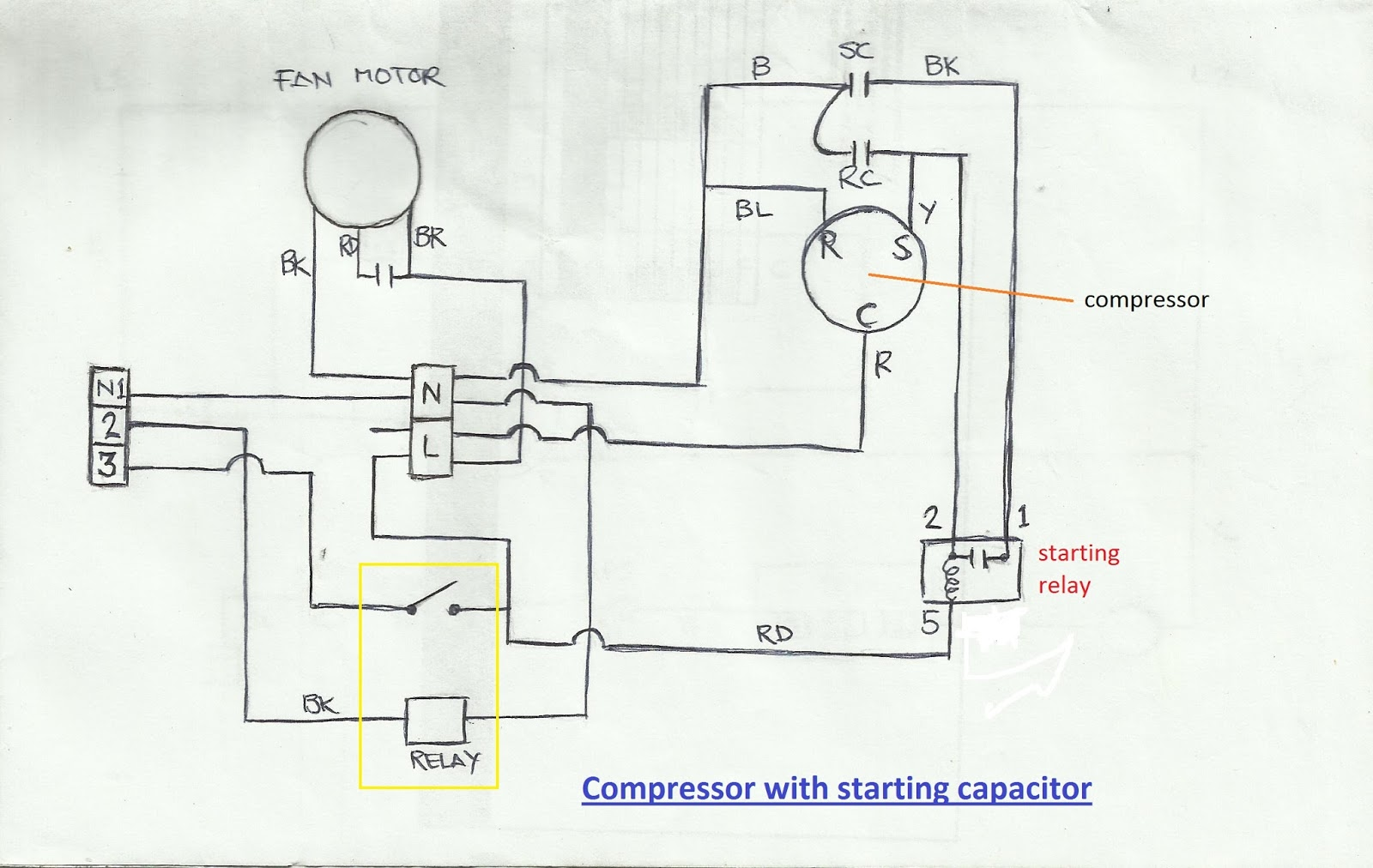 Refrigeration and air conditioning repair wiring diagram of wiring diagram of compressor with starting capacitor sciox Images