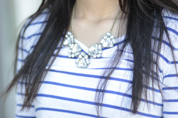 forever 21 rhinestone necklace banana republic stripe top