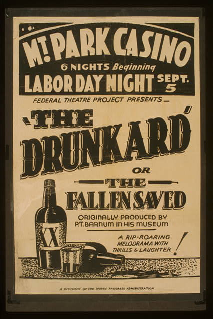classic posters, free download, graphic design, movies, retro prints, theater, vintage, vintage posters, The Drunkard of The Fallen Saved, Mt. Park Casino - Vintage Theater Poster