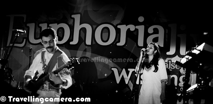 Last Sunday (19th Feb 2012) Euphoria Band was in Greater Noida for Adobe's annual Carnival and had an extremely energetic performance. Let's check out this Photo Journey to have a feel about the carnival...Euphoria is an Indian Rock Band from the city of Delhi, India. Euphoria is an Indian rock band with a twist, considering they play rock music in Hindi. With an unparalleled mass appeal and critical acclaim, Euphoria is considered as one of the biggest bands of the subcontinent. Euphoria was put together by Dr. Palash Sen and his friends in New Delhi in 1998. Euphoria The Band is a also considered a sole of the pop music wave which hit India in the mid nineties. (Courtesy - http://en.wikipedia.org/wiki/Euphoria_%28Indian_band%29) To know more about Euphoria band, check out - http://www.dhoom.com/theband.htmHere comes Mr. Palash Sen with unmatchable energy. Euphoria band hit the stage at around 8:00 pm and kept rocking till 11:30 pm. Most of the folks were standing near the stage and enjoyed the evening. Band performed really well and it was commendable the way they performed flawlessly without any hurry to close down the show. Although Palash was not well and having some back problem. After this show, he again went for Bed rest and we wish for his fitness for more rocking shows around the world Here is what Euphoria posted on their official Facebook page after this concert at Steller Gymkhana - 'Thank you Adobe for a night beyond incredible.. Thank you Concepts and Solutions for the flawless organization and arrangements.. One of the best corporate crowd ever! You guys made each inch of pain that Palash bore, worth it.. He's back to his beloved bed rest, and we're hoping that he is fit and fine for the last leg of Euphoria's Feb tour..'Whole rocking session was quite interactive and Palash shared lot of facts about intelligence of boys with appropriate reasoning in favor of girls :)Euphoria Band consists of - Dr. Palash Sen, Debajyoti Bhaduri, Ashwani Verma, Prasha
