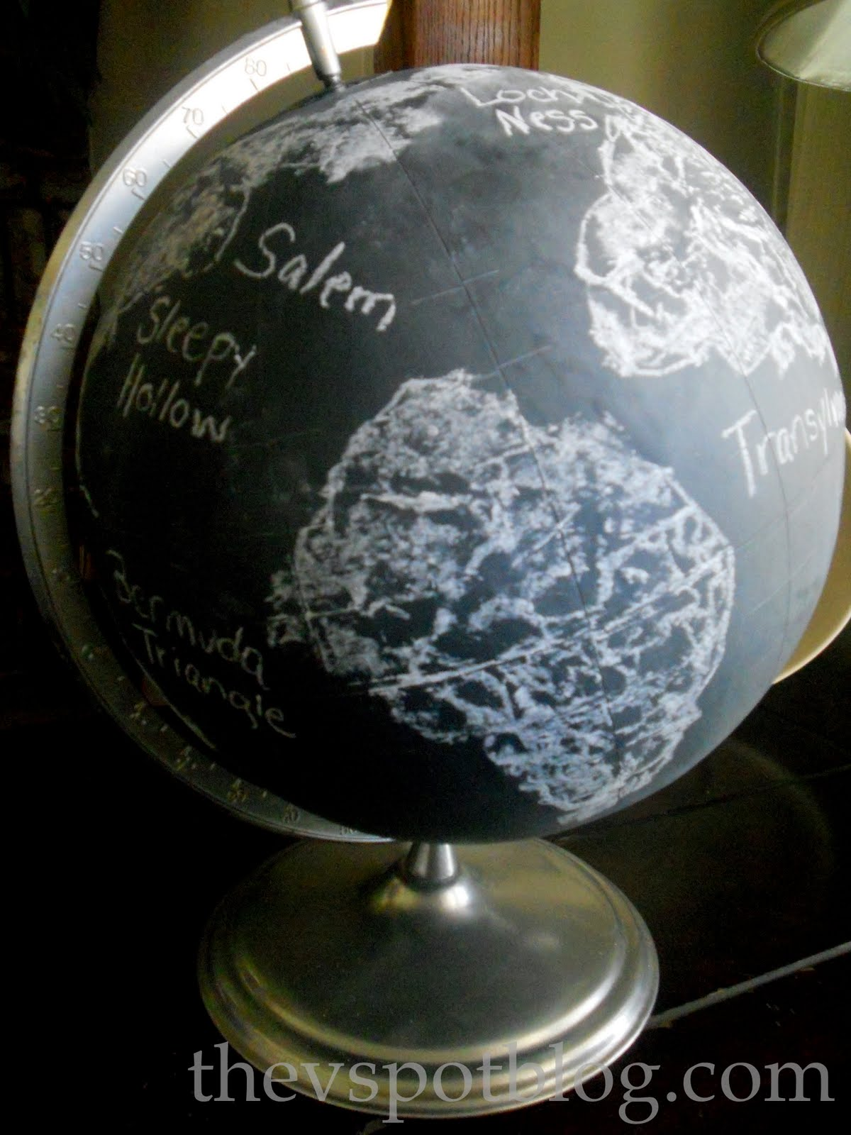 Scary Places Chalkboard Halloween Globe Huh The V