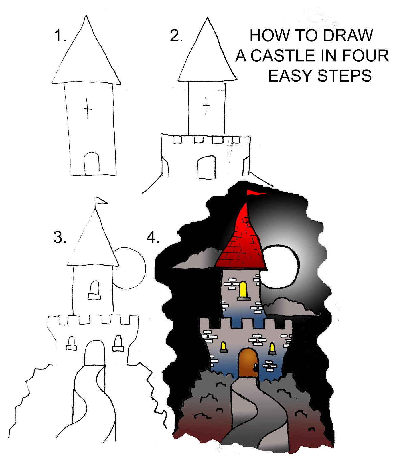 how to draw a castle in four easy steps