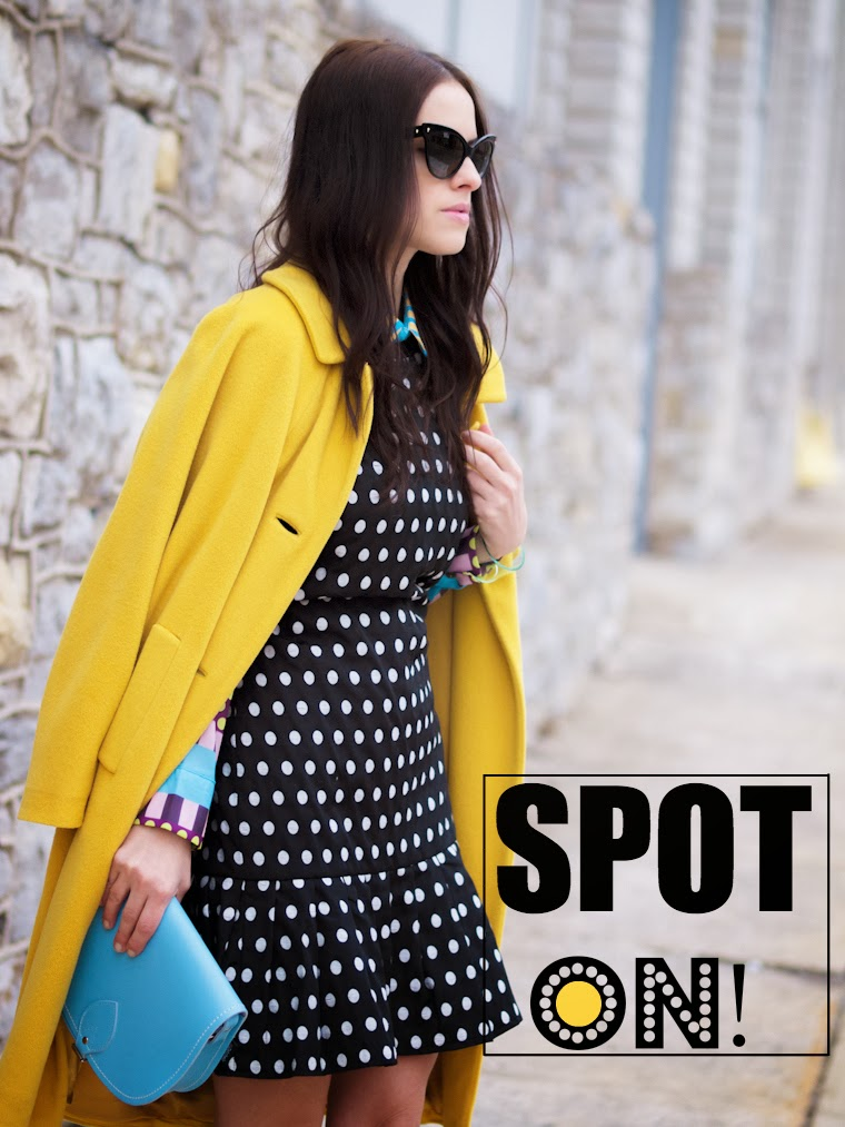 bittersweet colours, colorful coats, yellow coat, Christian Dior, Mango, cooee jewelry, Zatchels, polka dots, street style, winter trends, prints, COLORS,