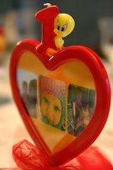 Candela primo compleanno rossa con titty  giallo e cuore con foto