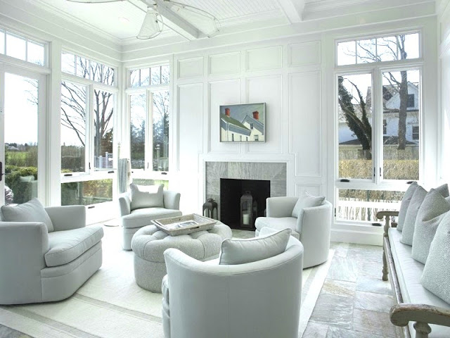 White living room Hamptons Water Mill estate