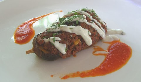 Stuffed Eggplant with Minced Lamb and Capsicum