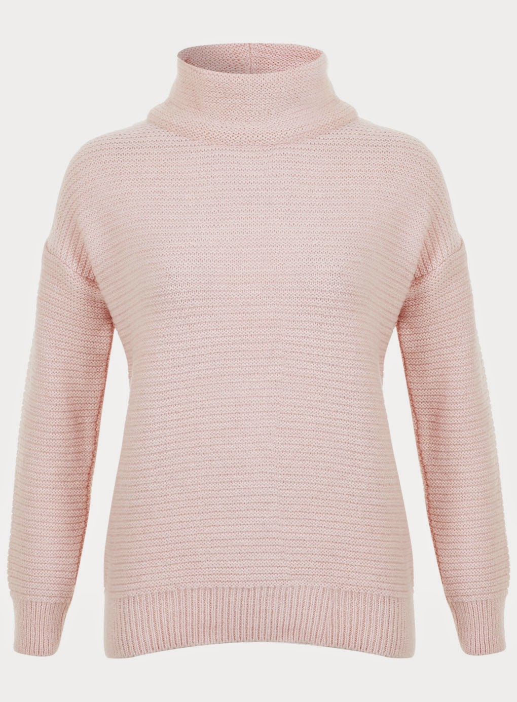 pink high neck jumper, pink funnel jumper,