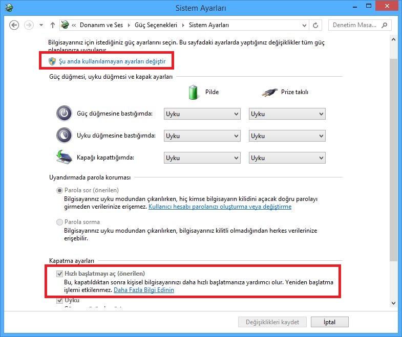 Windows 8 Hızlı Başlatma