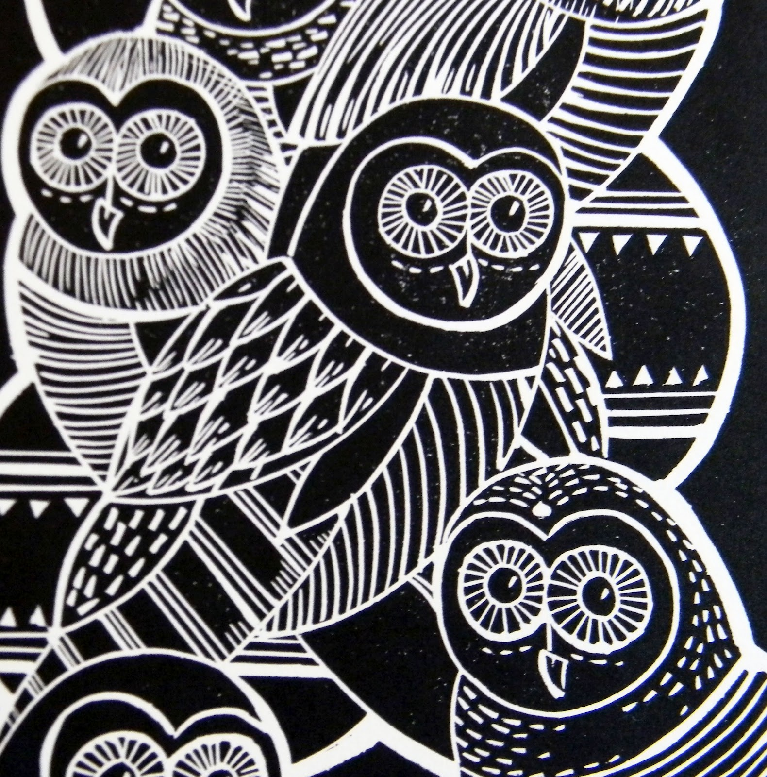 Mangle prints owls lino print for Making prints of paintings