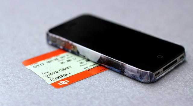 IPhone in Richard Weston quartz cover with train ticket