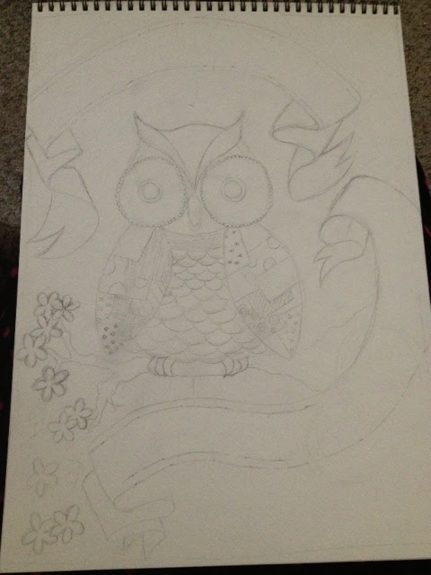 Charlotte Rose Owl step 1 pencil