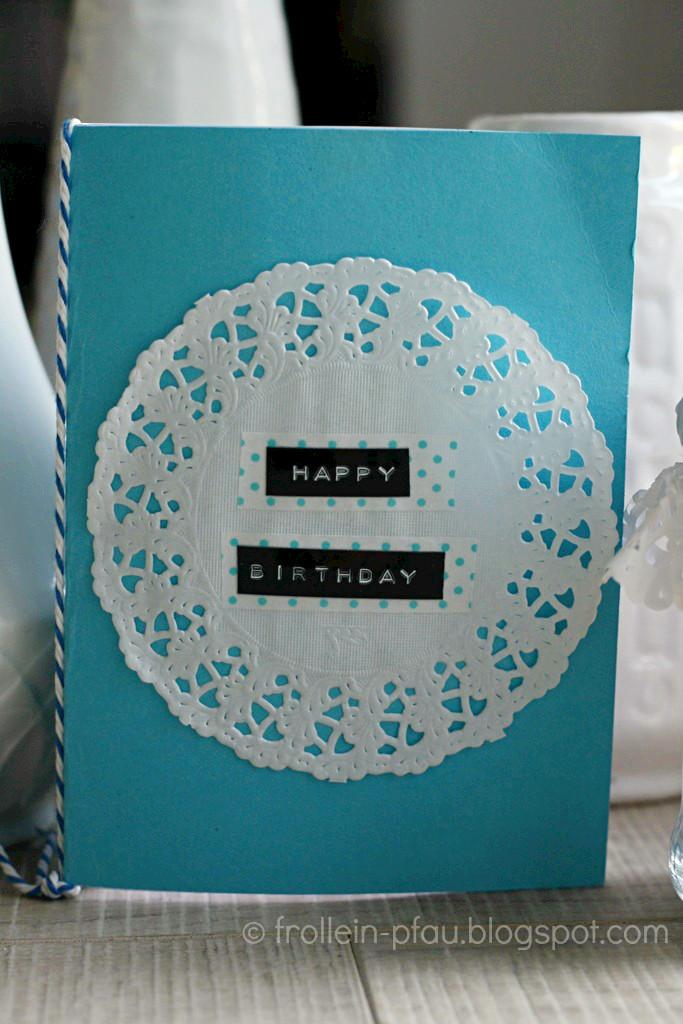 DIY, Creadienstag, Frollein Pfau, selbstgemachter Gutschein selbstgebastelte Geburtstagskarte, Happy Birthday, Geburtstag, Geschenk, Tortenspitze
