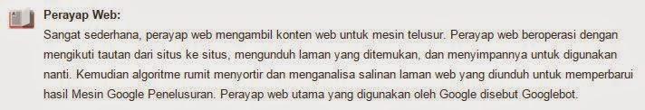 definisi perayap Website menurut google