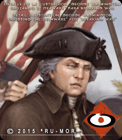 Detail illustration portrait George Washington by RU-MOR for BreakingWar magazine. historical