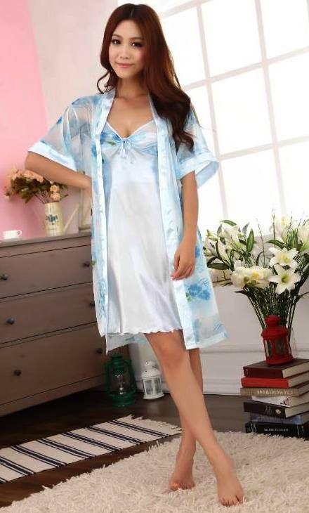 gambar Baju Tidur Kimono SL1145 Flower Blue