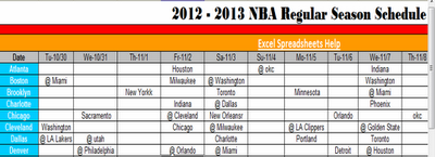nba schedule excel
