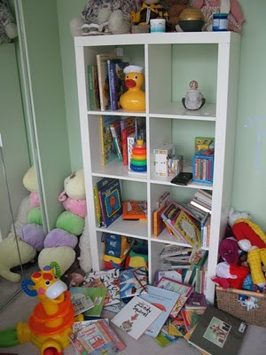 j's bookcase before