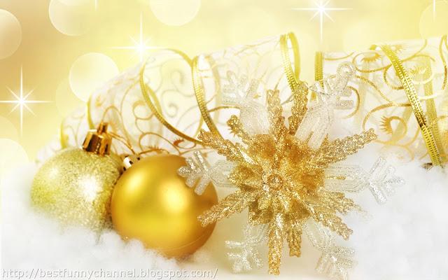 Two Gold Christmas balls.