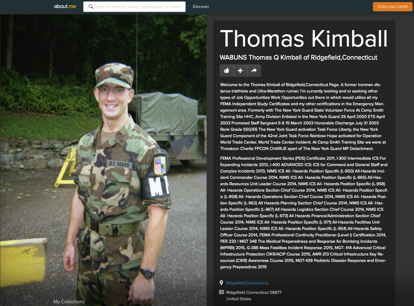 Please Click To See WA8UNS Thomas Q Kimball of Ridgefield,Connecticut About Me Page