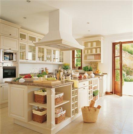 Islas pen nsulas mesas en la cocina estil propi - Mesa de cocina con cajones ...