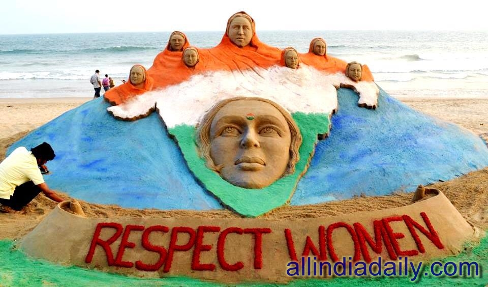 International Women's Day sand art by Sudarsan Pattnaik