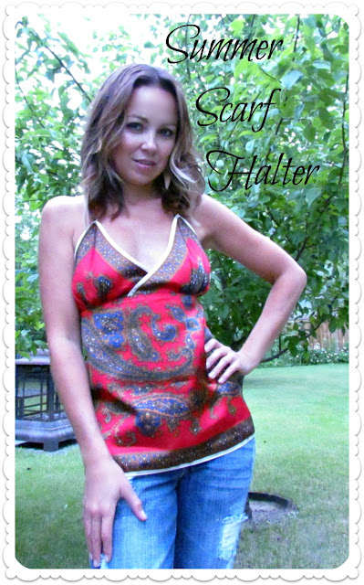 scarf refashion, how to turn a scarf into a top, Scarf halter, Scarf top