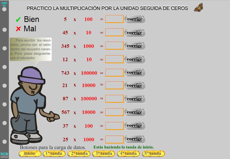 Multiplicación por la unidad seguida de ceros