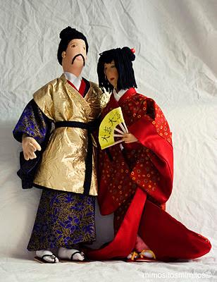 pareja de samurái y geisha del antiguo Japón