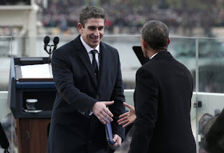 Richard Blanco shakes hands with President Obama at the 2013 inauguration