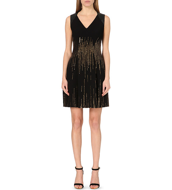 kAren millen blAck gold dress, karen millen gold black sequin dress,