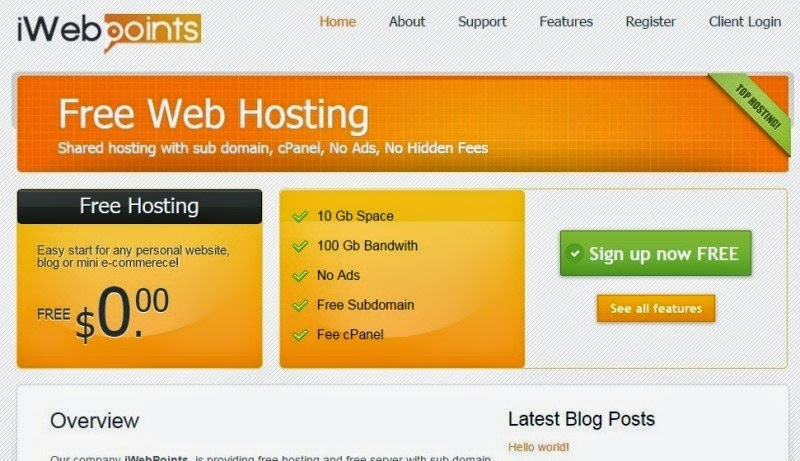 free web hosting support php5 and website building for blog