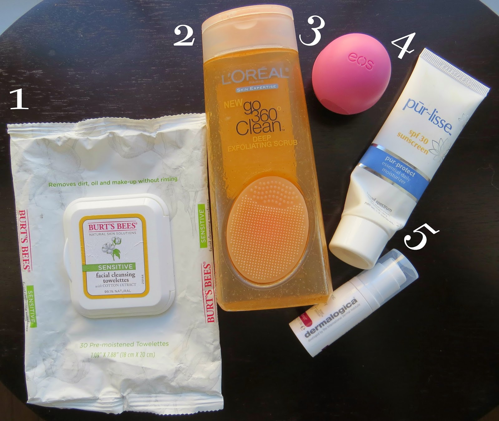 Burt's Bees Towelettes, Loreal Deep Exfoliating Scrub, EOS, Pur-lisse Sunscreen, Dermalogica
