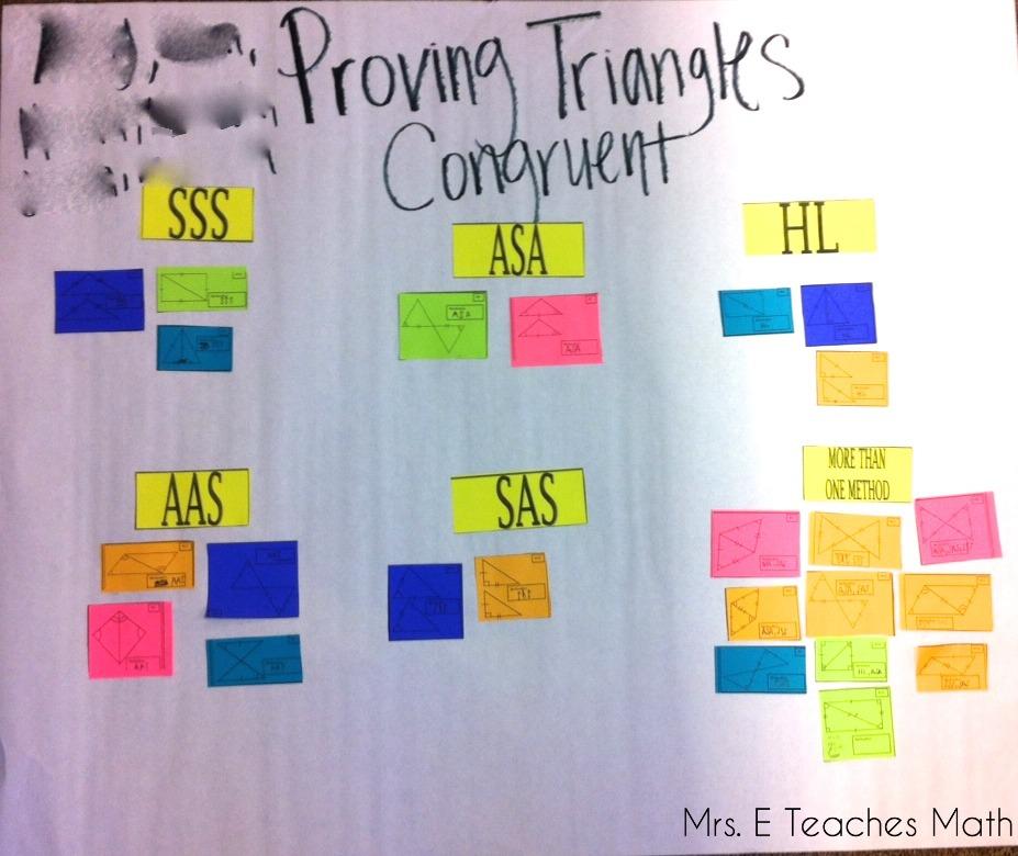 Congruent Triangles Cut and Paste Activity - a fun activity for congruent triangles to help practice triangle congruence shortcuts  |  www.mrseteachesmath.blogspot.com