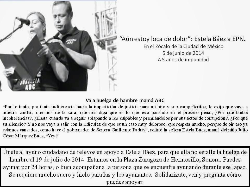 BITÁCORA DEL AYUNO CIUDADANO APOYO A ESTHELA BÁEZ