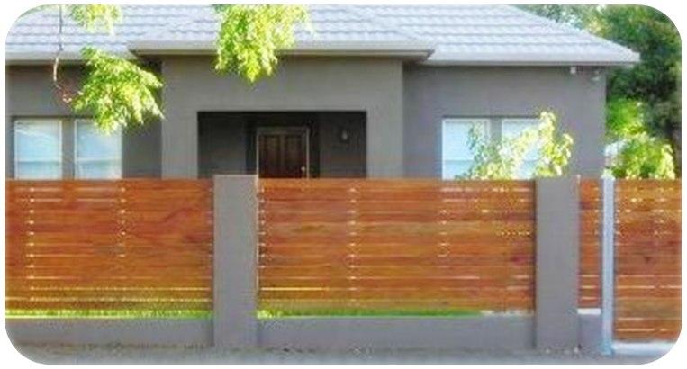 Contoh model pagar kayu minimalis modern