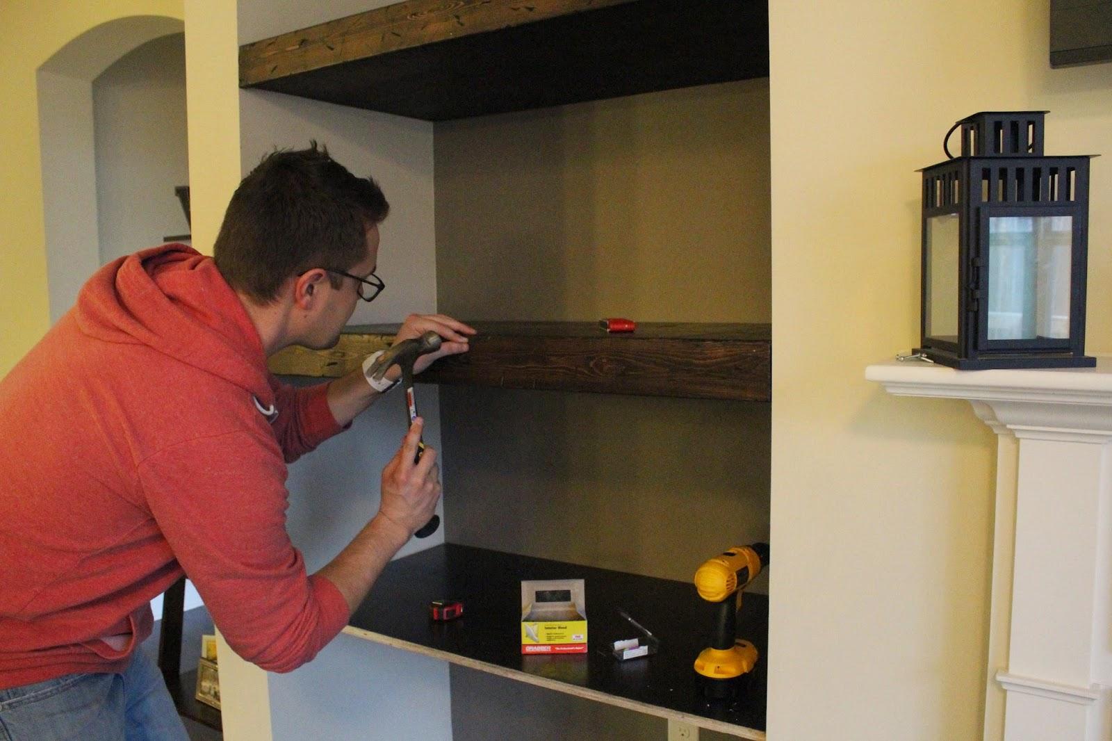 DIY Built in floating shelves
