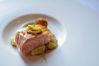 Salmon with eggplant and calamari image
