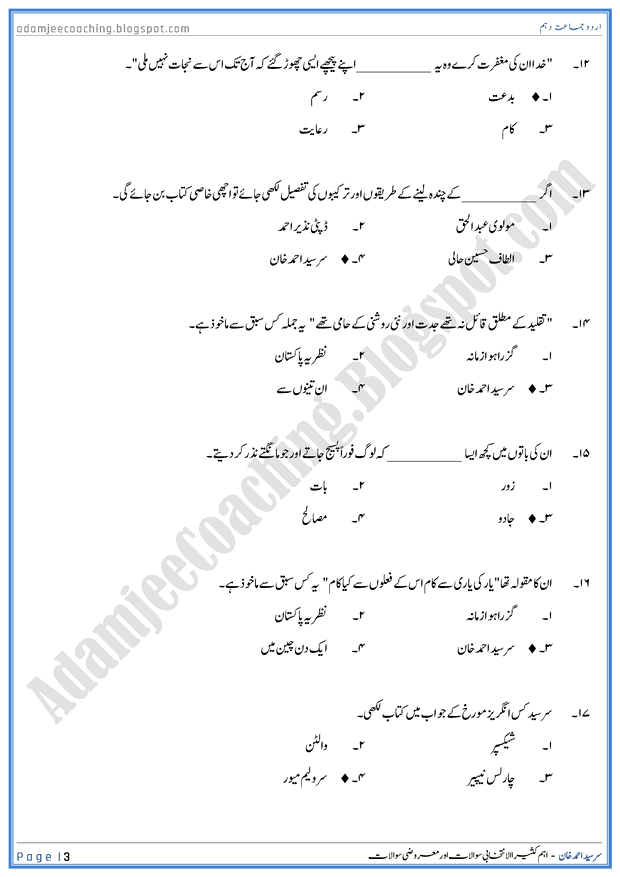 sir-syed-ahmed-khan-mcqs-urdu-10th