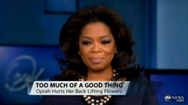 Oprah injured back after lifting gift from Tyler Perry
